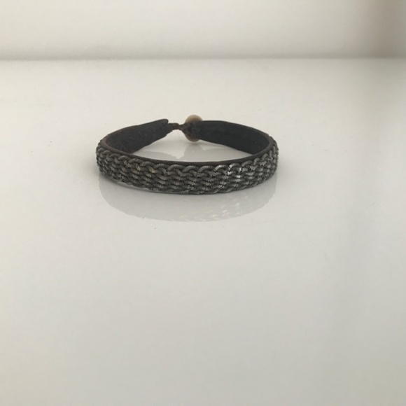 VTG Maria Rudman Leather & Woven Pewter Braclet